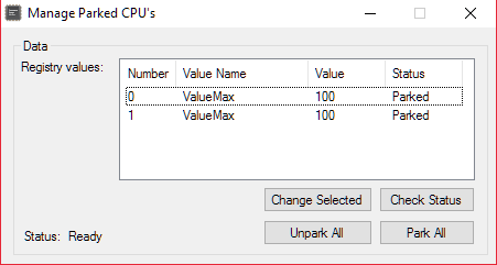 CPU Core Parking Utility